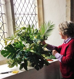 Flower arranging at Stone in oxney church