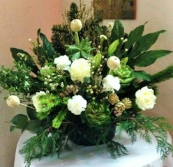 Flower arrangement at Stone in oxney church