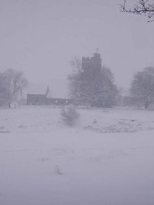 Church of St Mary the Virgin Stone, in a blizzard