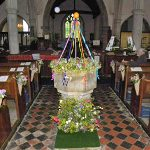 Font arrangement, Stone in Oxney flower festival 2017